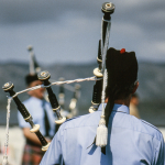 Bagpipers - Lerwick, Shetland Islands, Scotland, UK - June 4, 1989